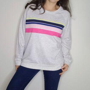 New 2X 80s Vibe Rainbow Stripe Sweatshirt
